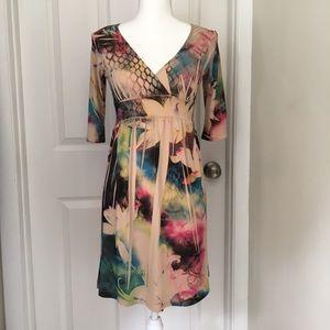 LIPSTICK Floral Watercolor Print Dress
